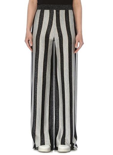 NetWork Kadın 1073233 Basic Fit Çizgili Bol Paça Pantolon Siyah